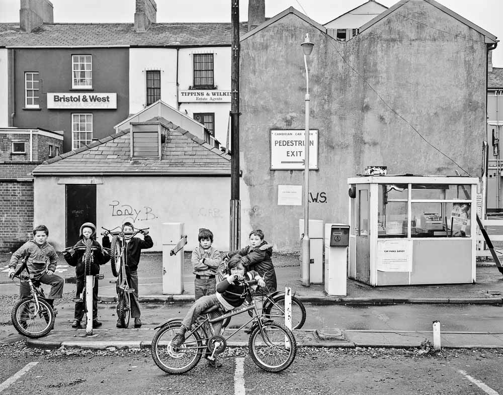 Newport, South Wales, Child Cycle Gang pose at Cambrian Way car park, 1980