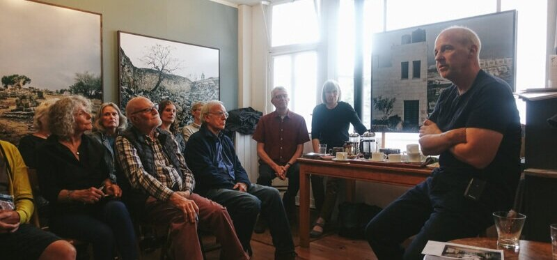 Photographer James Morris speaking in Machynlleth. Image © Brian Carroll