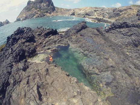 Pequena piscina natural no final da Trilha do Abreus