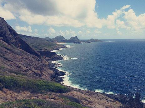 Segunda parte da Trilha do Capim-Açu. Tá vendo aquela mancha begelá no fundo? É a praia do Leão, o ponto final da trilha.
