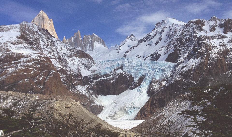 Mirante para o Glaciar Piedras Blancas.