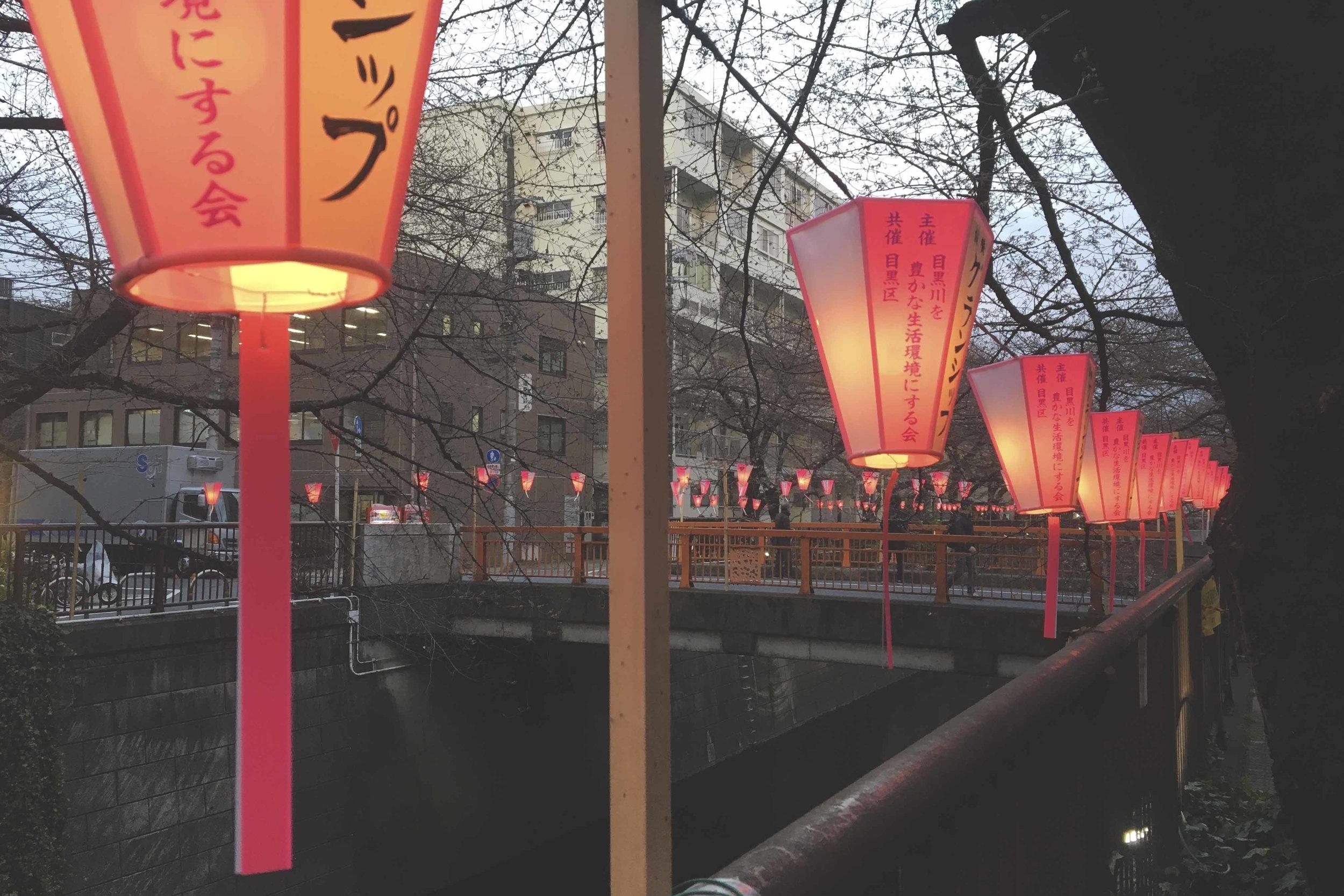 Lanternas ao longo do rio de Naka Meguro