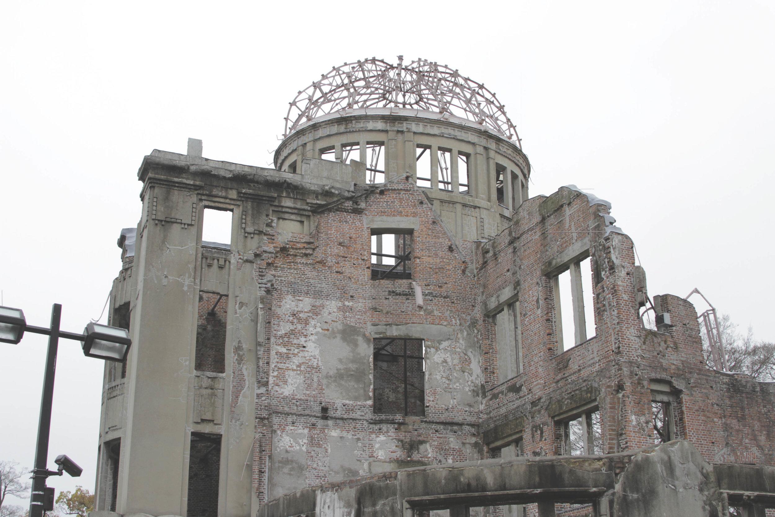 Domo da Bomba Atômica, uma das poucas construções que se manteve erguida após a explosão da bomba.