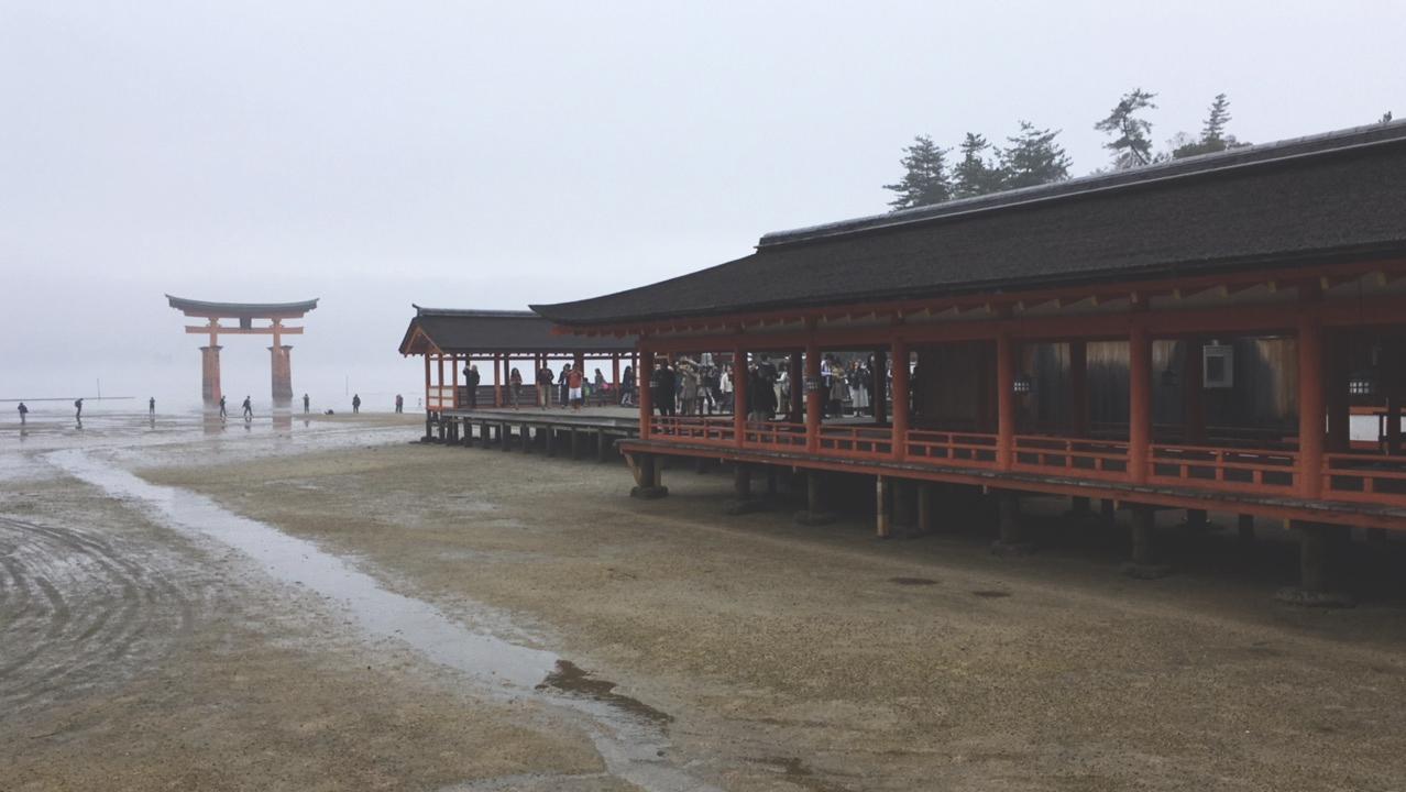 Uma parte do enorme santuário Itsukushima, em Miyajima.