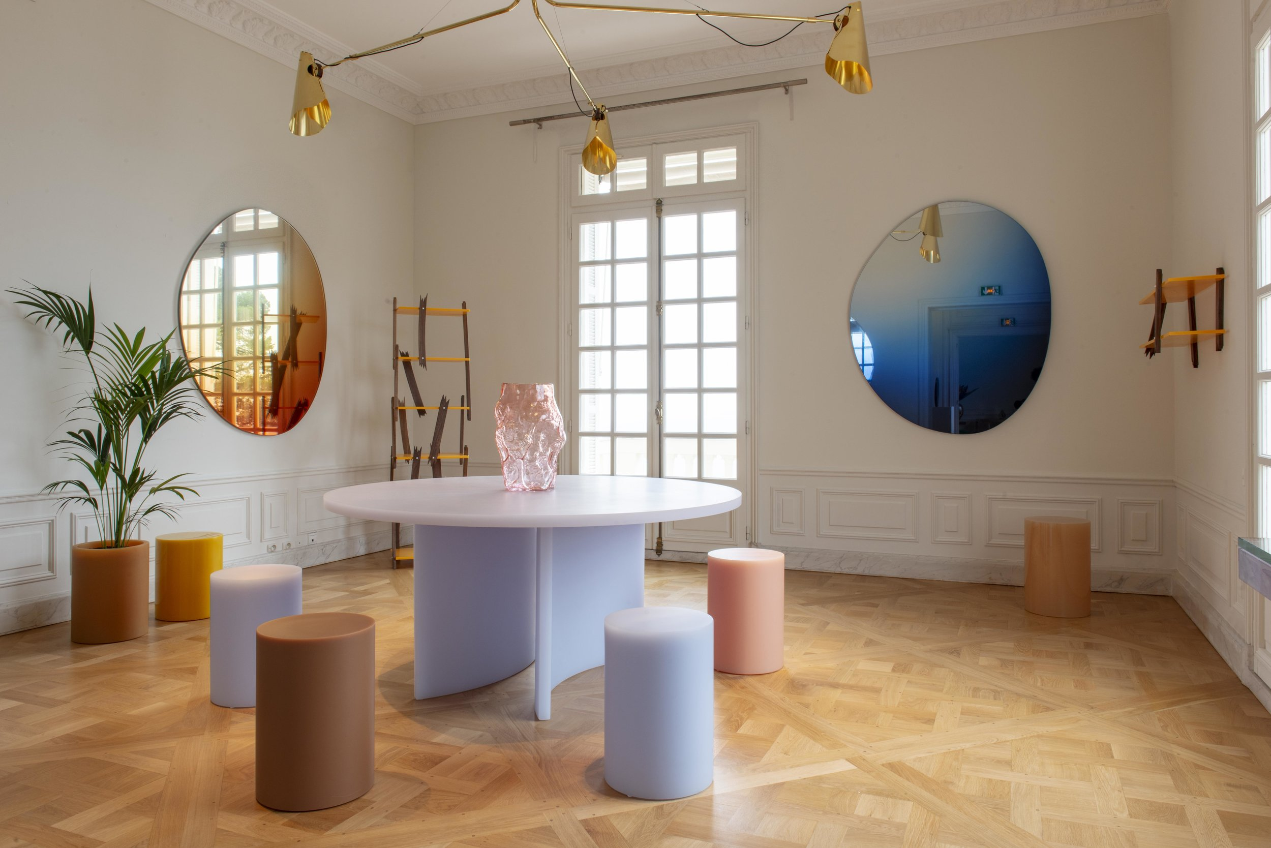 Installation Shot with Round SOAP Table and SOAP Columns , Etage Projects Booth, NOMAD Monaco 2018, Villa La Vigie, Monaco