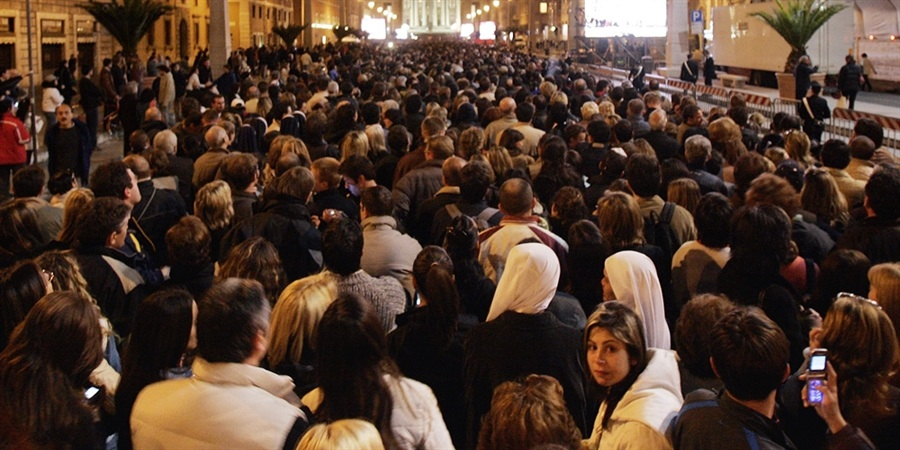 Outside the Vatican in 2005