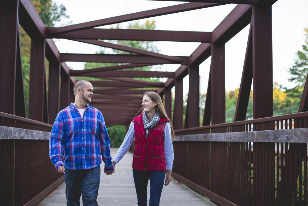 I had Megan & Josiah walk across this bridge at Eno River State Park for their engagement photos. There are some amazing hiking trails at this park! If you ever wanna hike there, you can find it at  6101 Cole Mill Road    Durham  ,  NC    27705