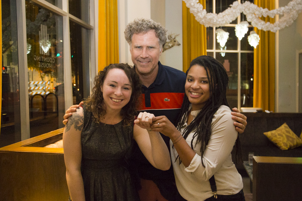 Engagement photo with Will Ferrell at the 21C Hotel in Durham, North Carolina.