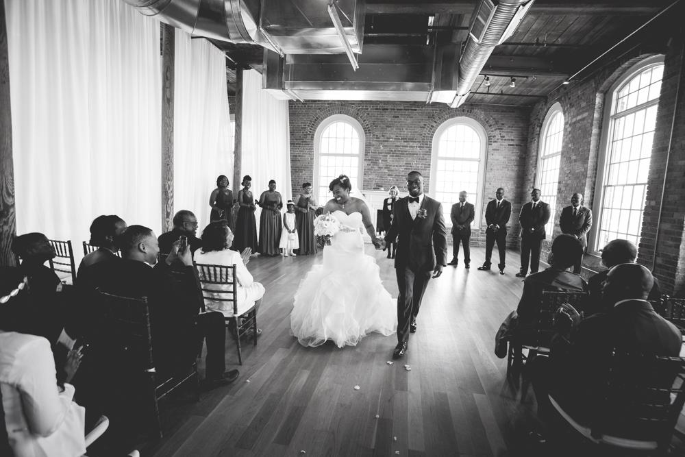 Wedding ceremony setup at The Cotton Room