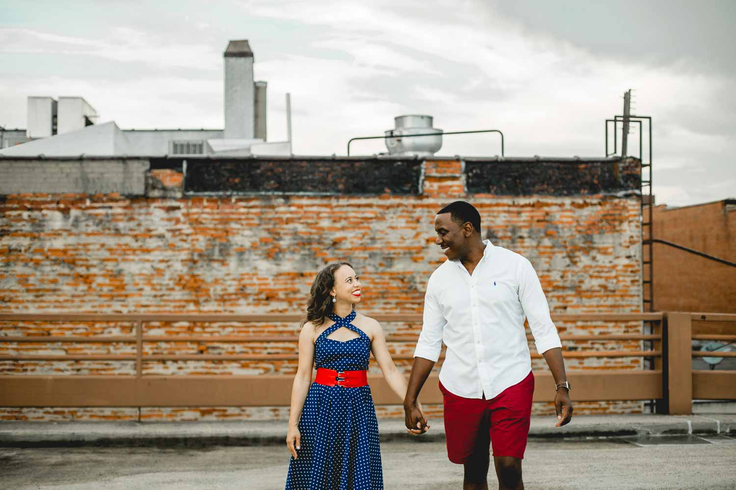 engagement-shoot-on-parking-deck-in-durham-nc