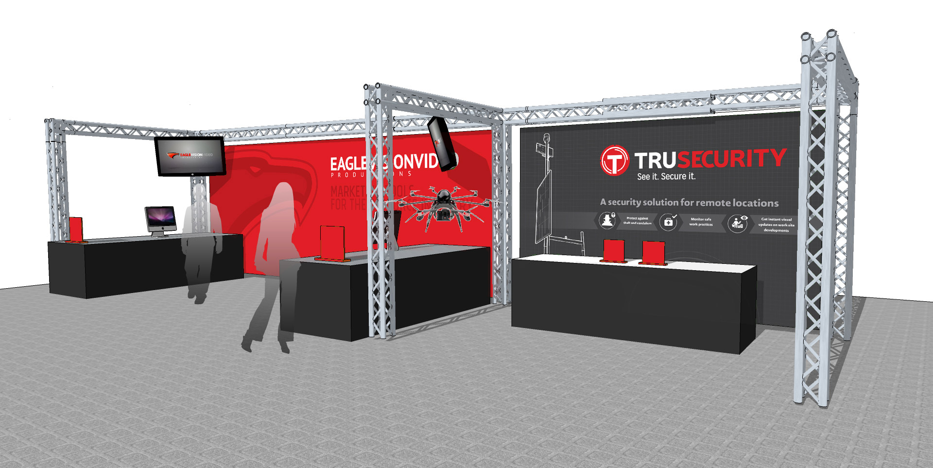 As an example, here is a conceptual design of our own Eagle Vision& Tru Securitydisplay booths usingtrussing and LED displays.These images are anexample of how we can visualize your trade show booth.