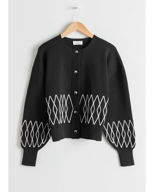 & Other Stories Cropped Diamond Cardigan