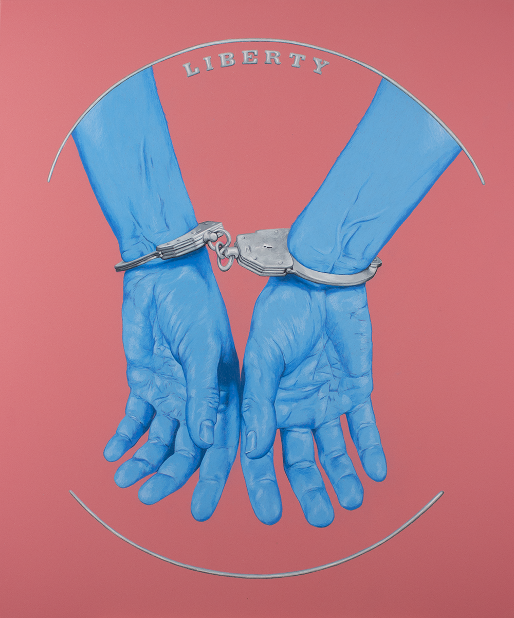 "Liberty (Cuffs)  , colored pencil on painted panel, 2017, 24 x 20"". Available."
