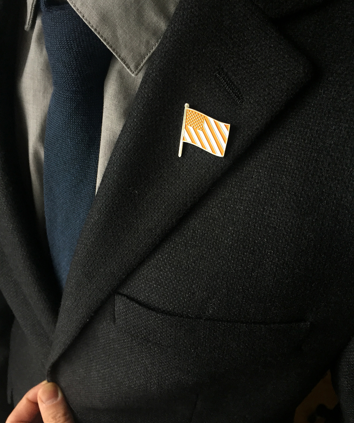 Caution Flag lapel pin. Sold out.