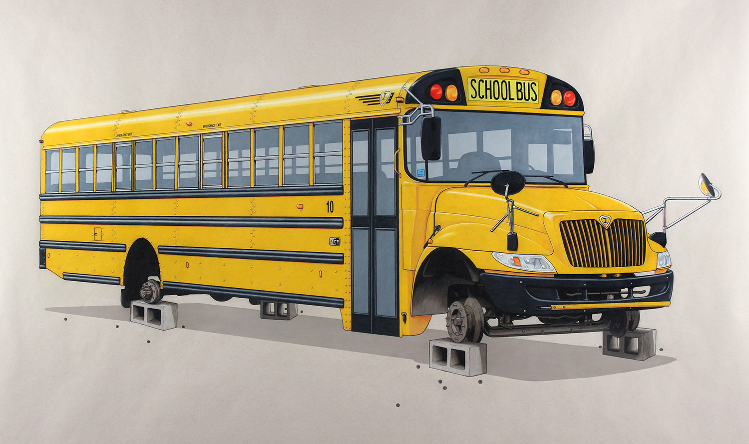 "The Wheels On The Bus   colored pencil on paper, 2016, 40 x 60""."