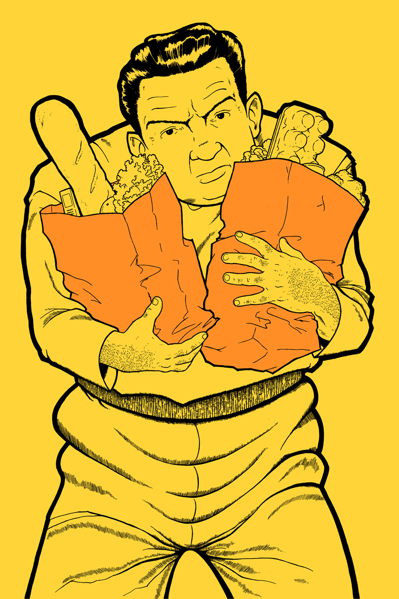 Thug with Groceries  , ink & marker on hand-dyed paper, 2012. Available.