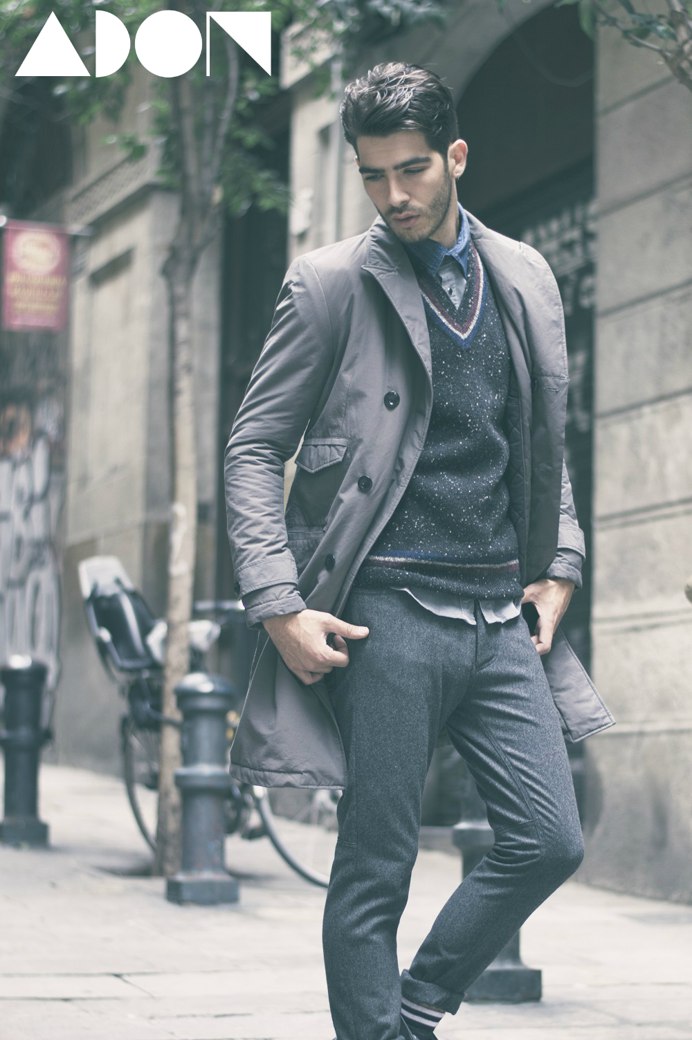 Coat: G-Star, Vest: Fred Perry, Shirt: Guess, Trouser: Custo, Shocks: AW LAB, Boots: G-Star