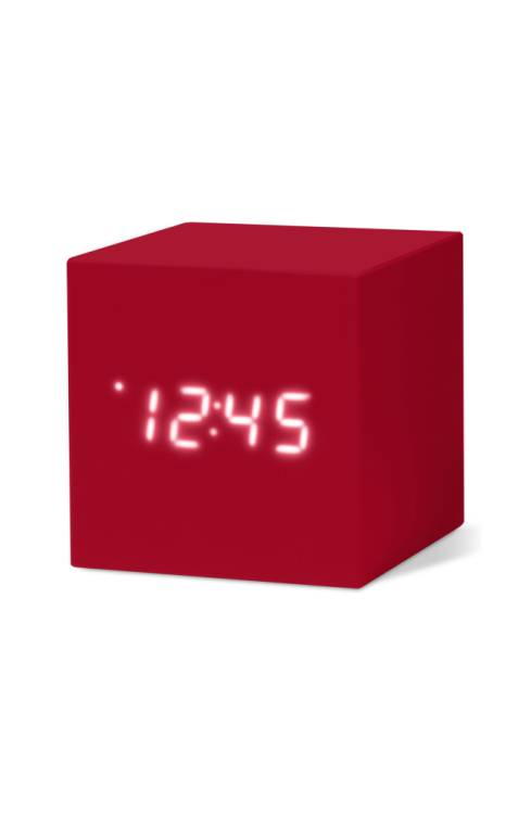Tactile and rubberized in a bold monochrome design, this compact cube-shaped clock features a sound-activated LED display that shows the time, the date and the temperature. An automatic dimmer and an alarm function (complete with five-minute snooze!) lets you nap with ease when you need to catch a few Zs.