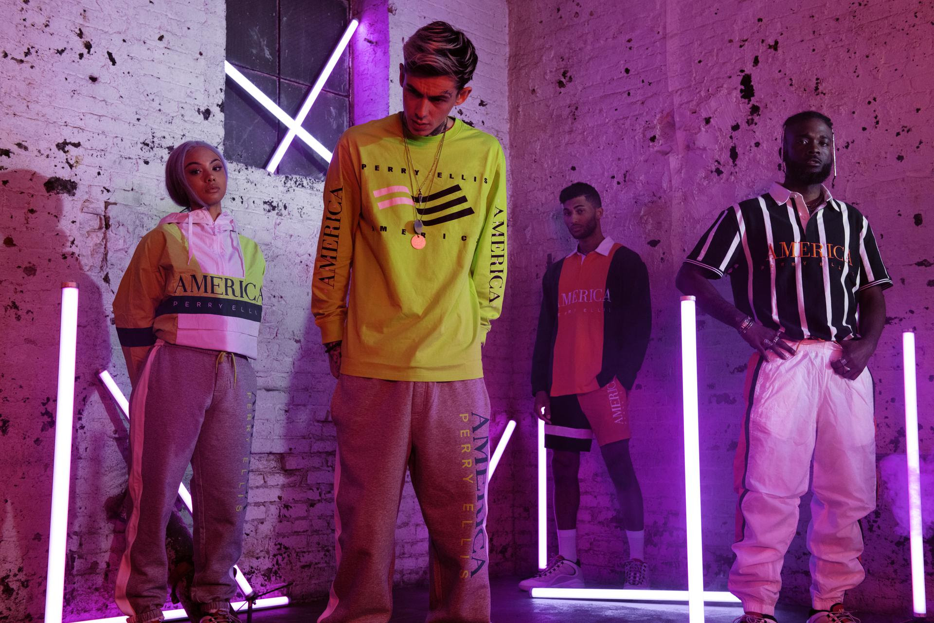 The unisex 90's pieces in 2.5 are more contemporary, with the entire capsule incorporating a washed neon and bright white colorway with yachting-inspired fabrications.  While the debut of Perry Ellis America was comprised strictly of replica pieces from the original 90's collection, 2.5 features redesigned classics that have been updated to create a more cohesive story that embodies the fun, bright mood of the spring season.    Perry Ellis America Capsule 2.5 will be available starting tomorrow at PerryEllisAmerica.com .