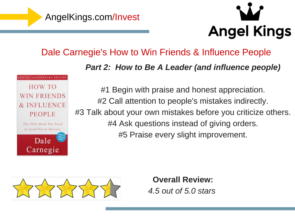 How does Dale Carnegie's book show investors and startups how to be a leader?