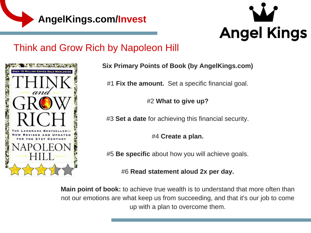 Here are the six main points to Napoleon Hill's book,  Think and Grow Rich.