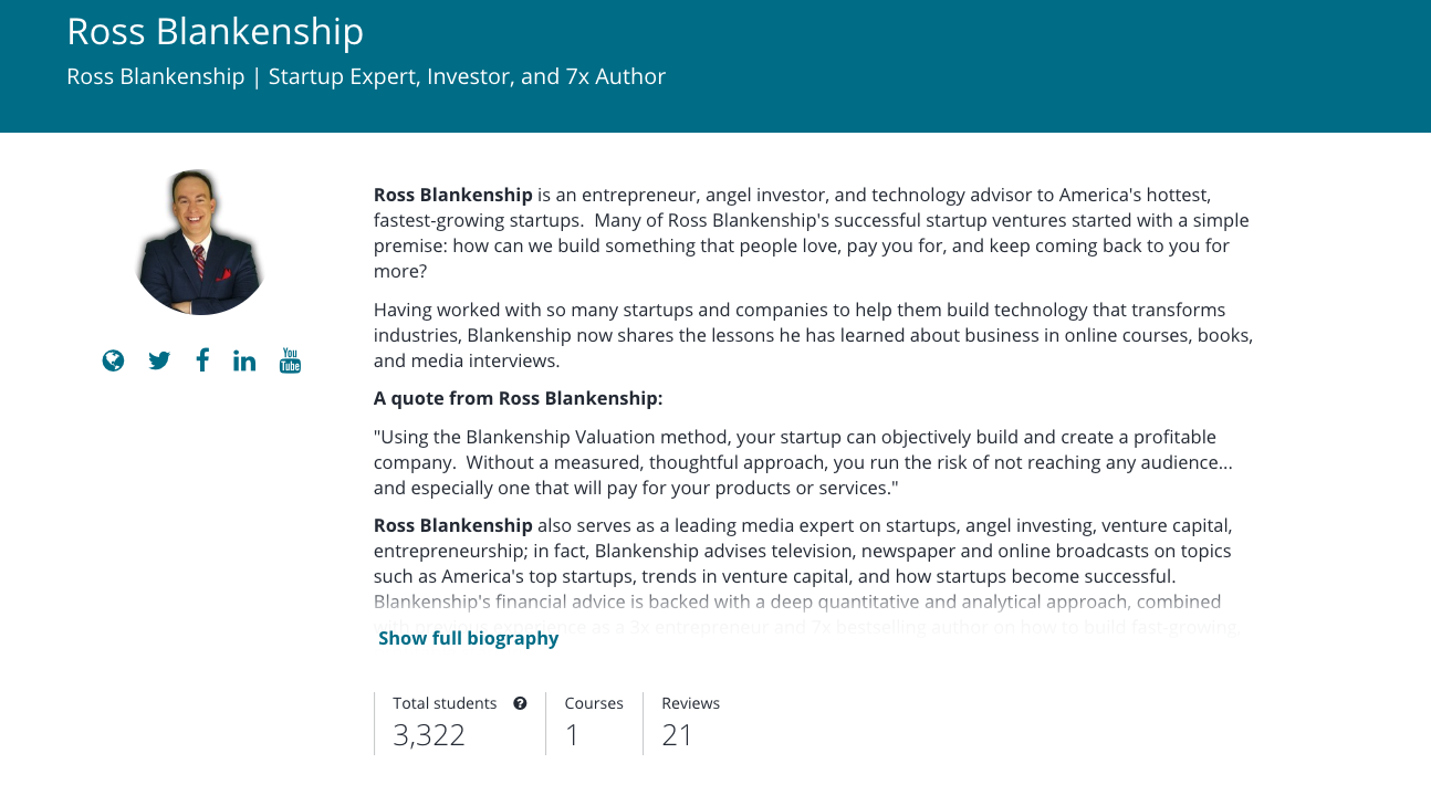 Take  Ross Blankenship's  Course on Startups.