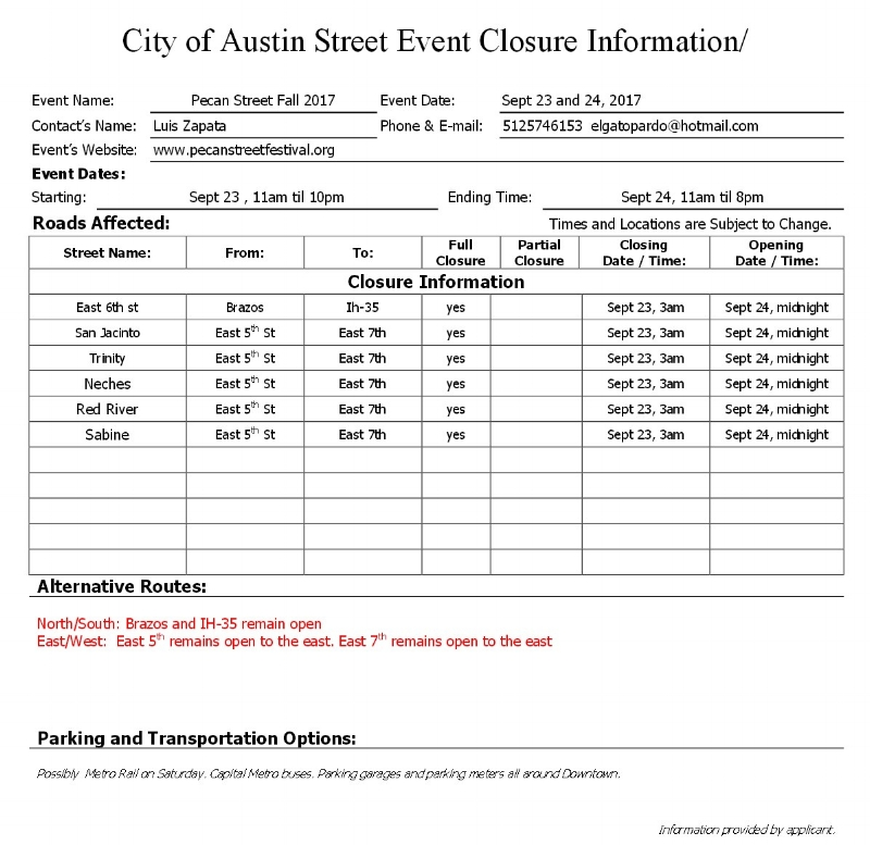 Street Closure - Click Here to view full PDF ( opens new windows )