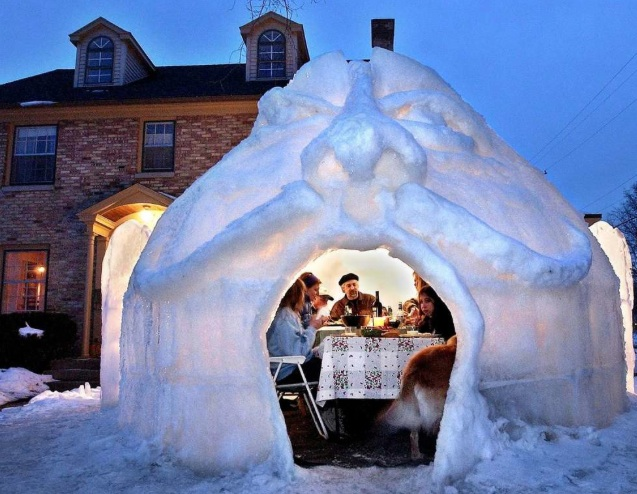 Originally from the  mlive  site, this is the most innovative igloo we've ever seen!
