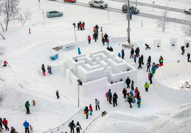 Here's another creative idea for all those snow days we've been having! Gather up those good neighbors and build a snow maze like these folks in Kiruna, Sweden did!