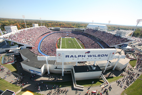 Another Buffalo gem (and recent  Brick x Brick  Award Winner) is Ralph Wilson Stadium; image courtesy of  Buffalo Bills