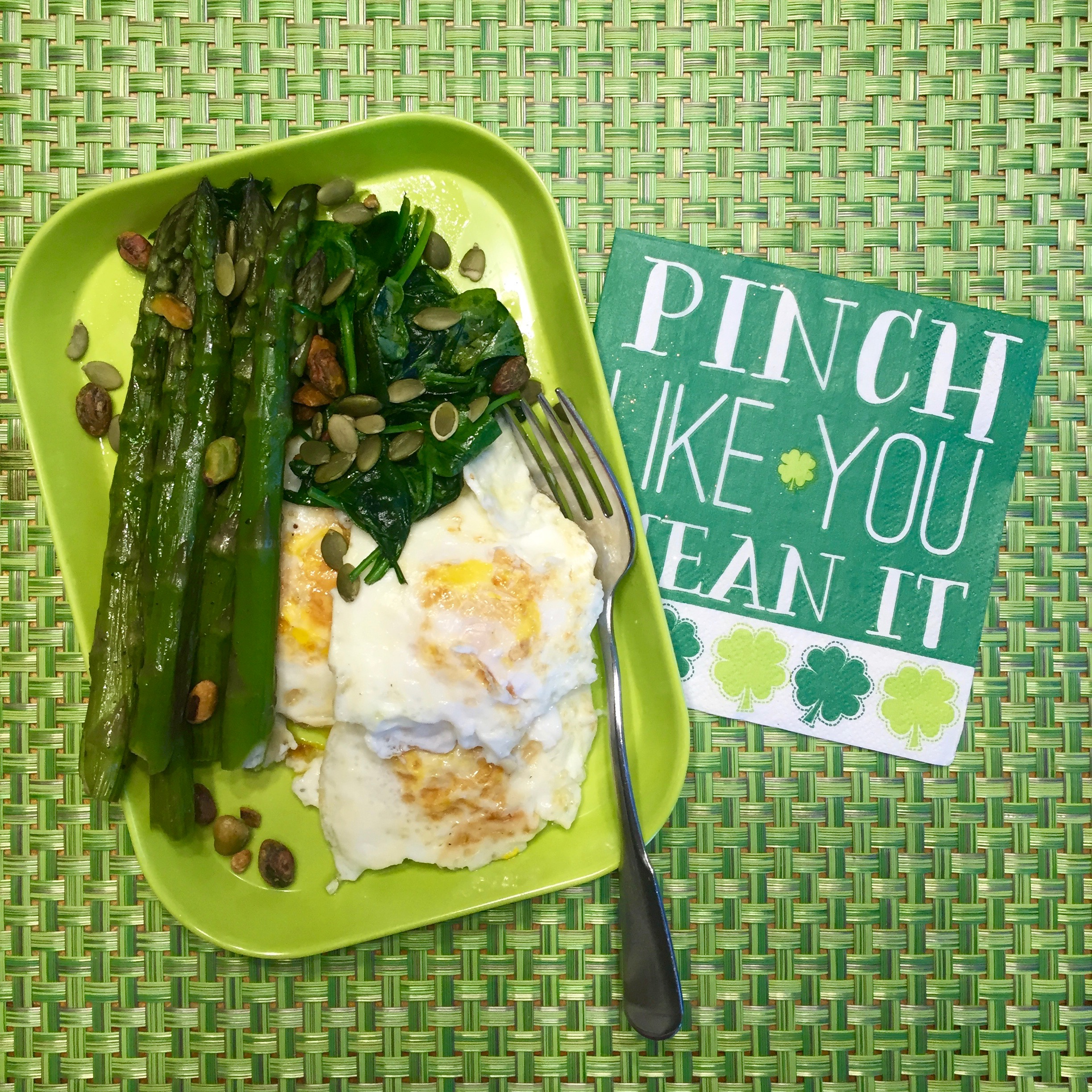 Breakfast: Three eggs + spinach (cooked in 1 T ghee)+ asparagus (left-over) + pepitas + pistachio nuts.