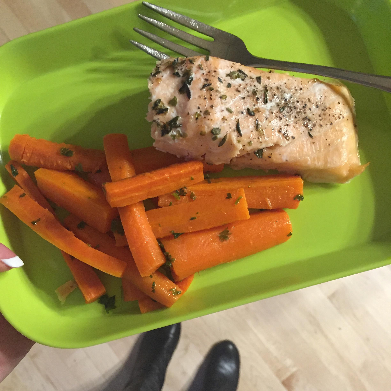 Salmon + roasted carrots = BREAKFAST!
