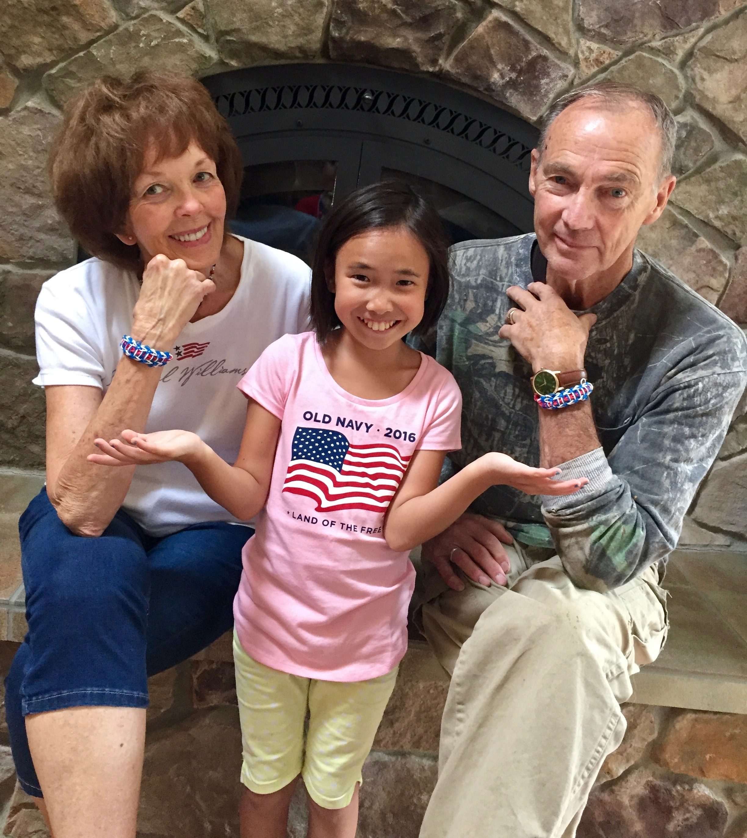 Addie used her Rainbow Loom to create July 4th rubber-band bracelets for Grandma and Grandpa Hall