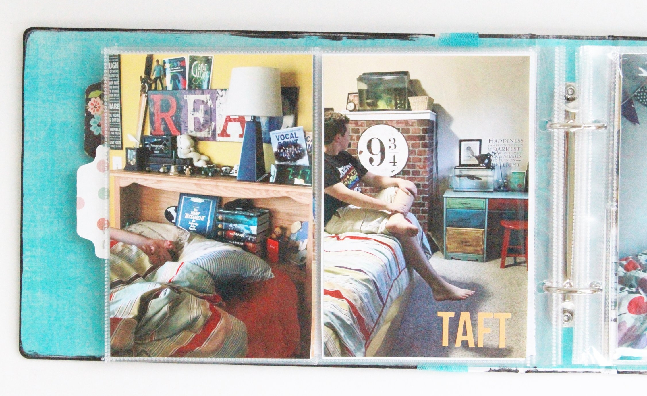 """I designated the pages with 2, 4""""x6"""" pockets for   People in their Places  . So, for my kids ... a photo of them in their room and another detail photo or another place altogether."""