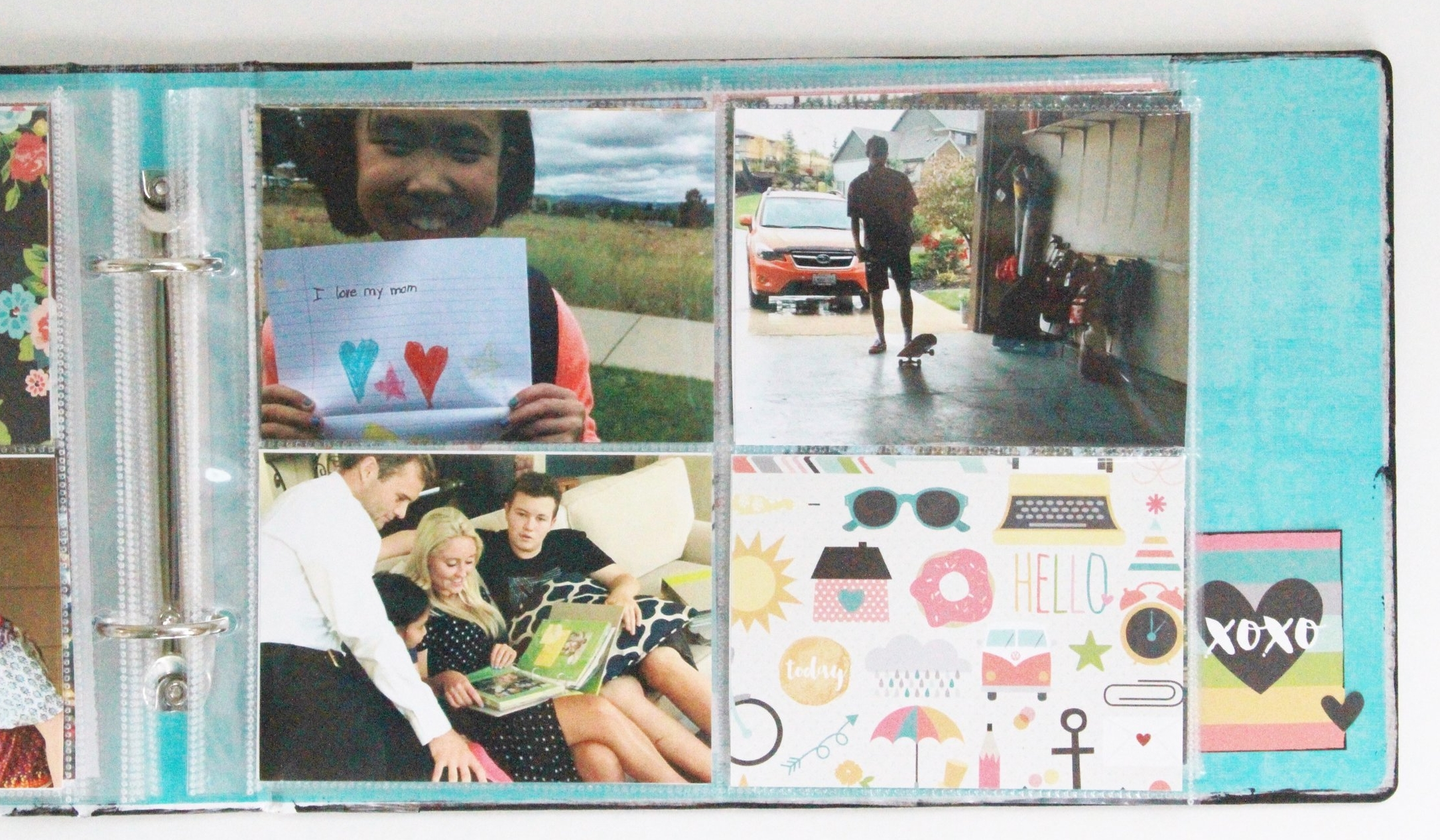 """The next section is   Happy Memories at Home  , where I slipped very everyday-ish photos of us doing things in and around our home into the 4""""x3"""" pockets."""
