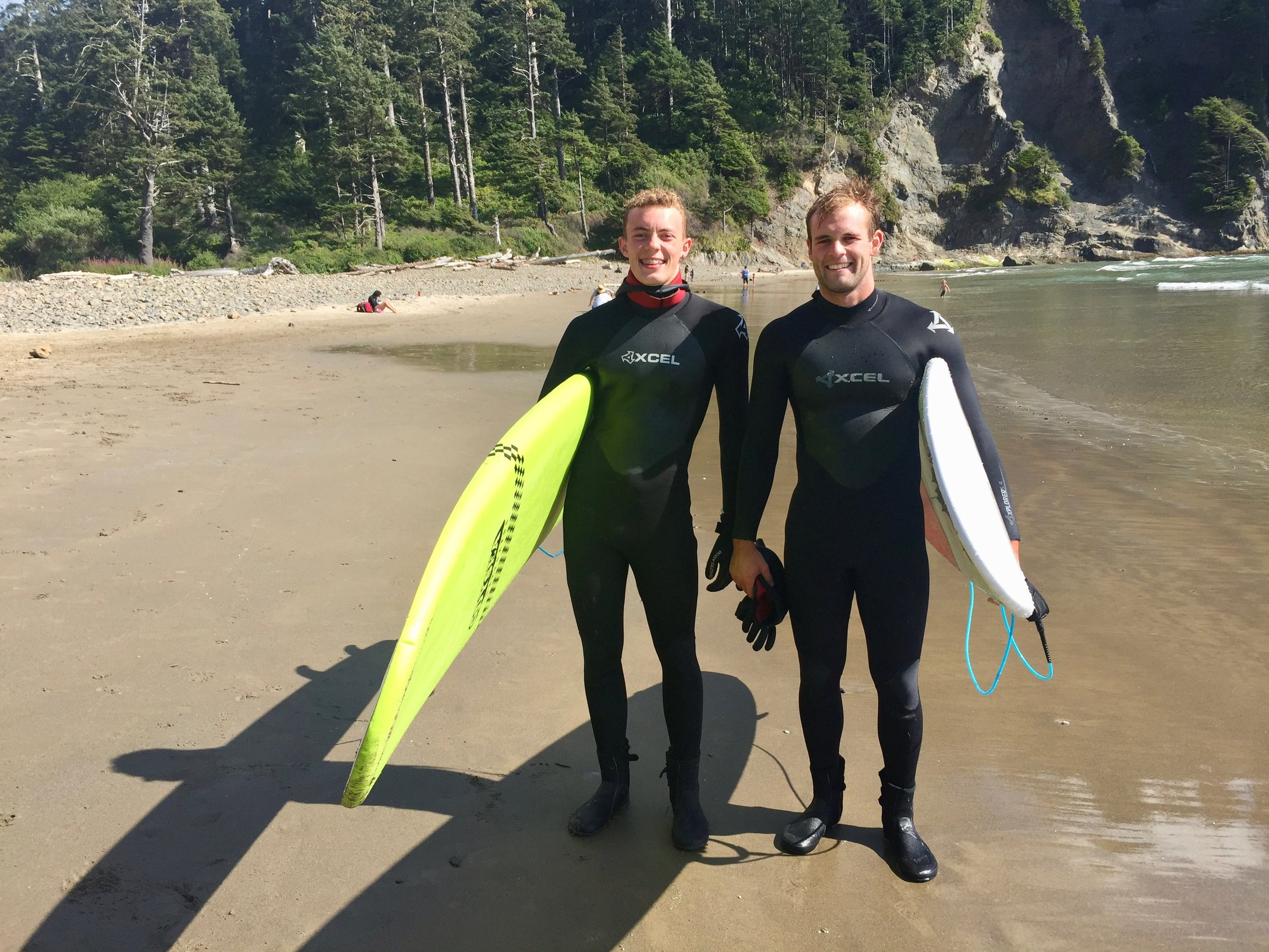 Photo taken August, 2016 on the beach at Seaside, Oregon. Clark (23) and Trey (17) spent several hours being schooled by the ocean!