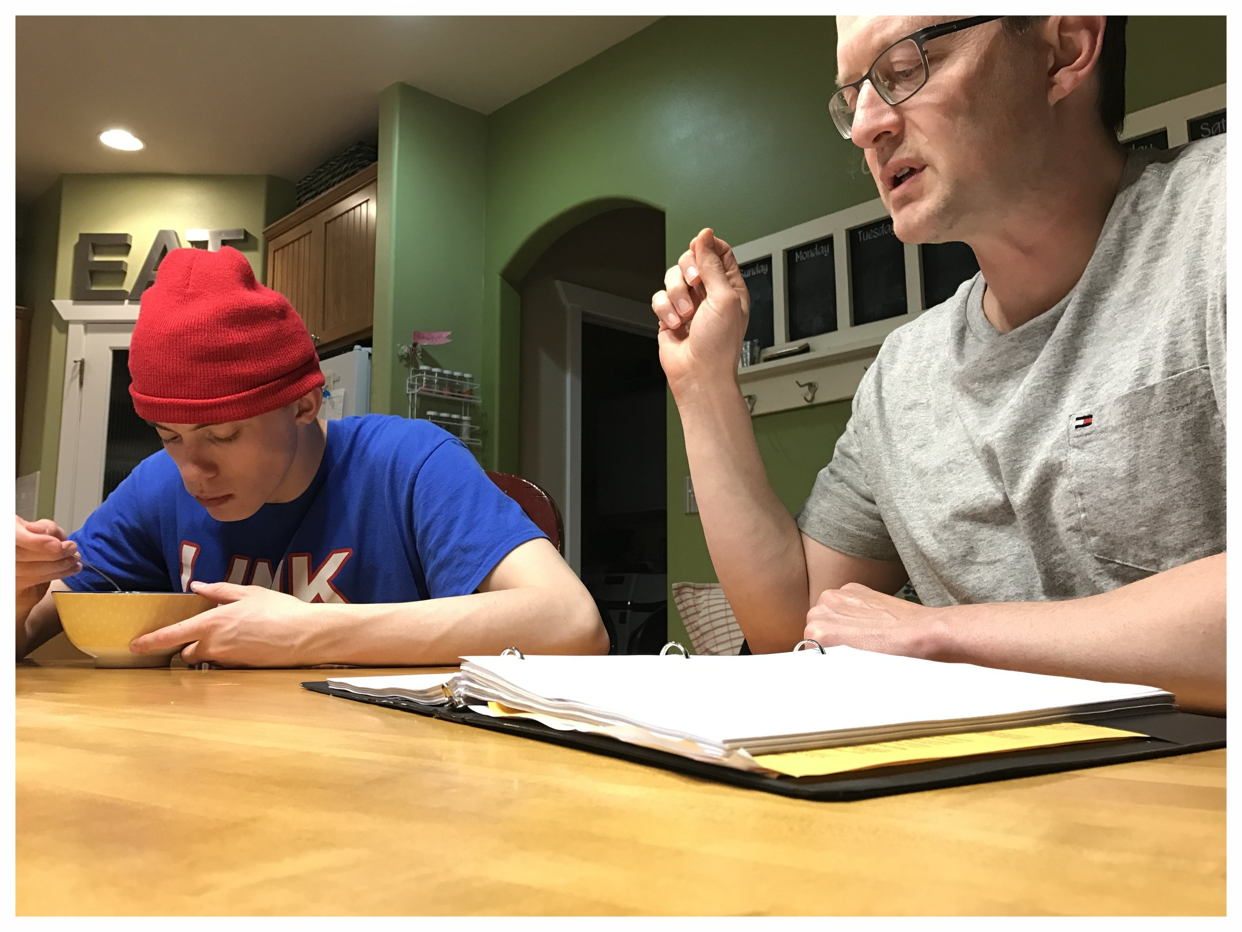 One of the last photos I took today. Geoff and Trey rehearsing his lines for the next CVHS play.