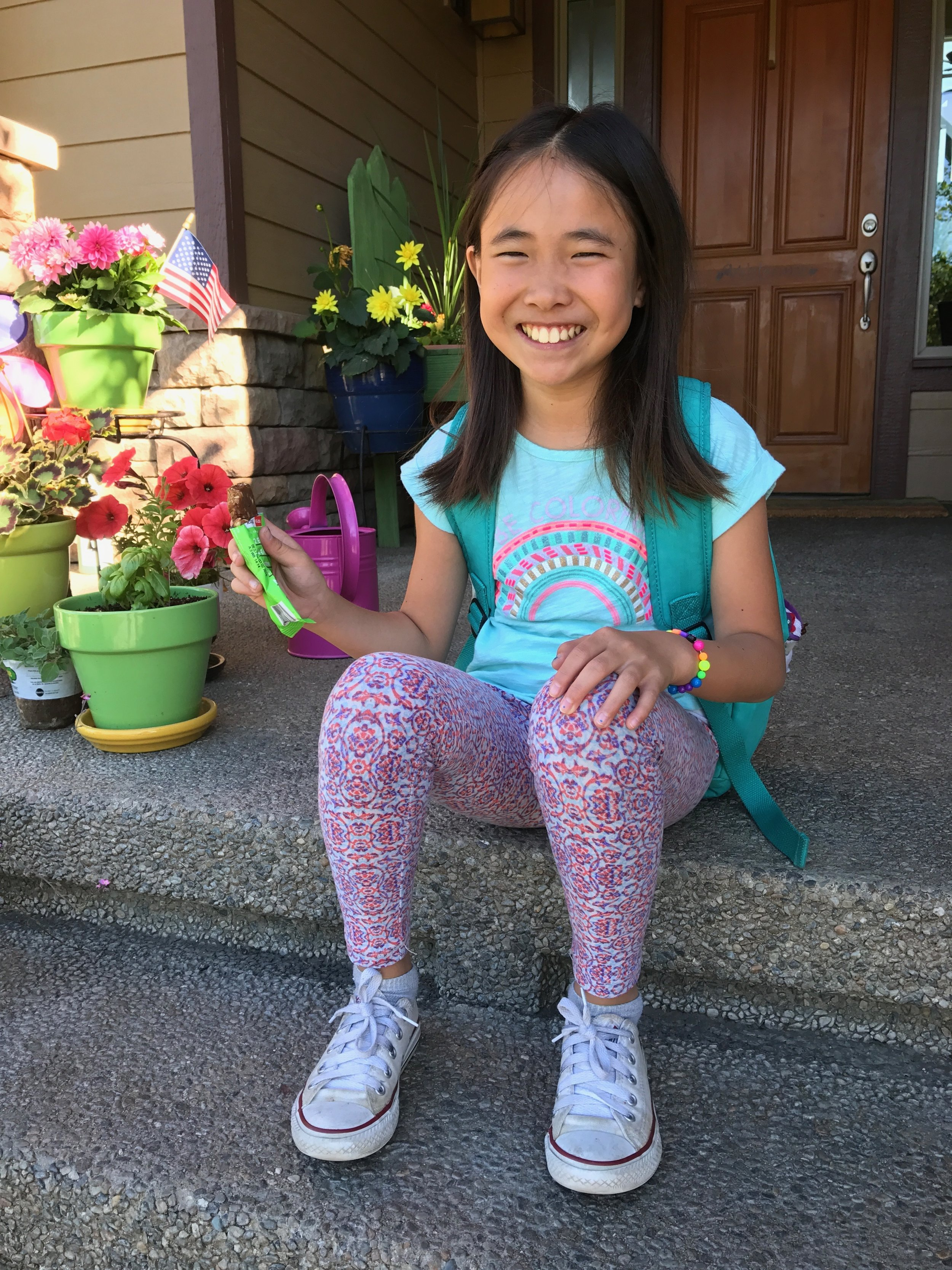 June 19th.Addie on the last day of third grade. Her smile says it all.