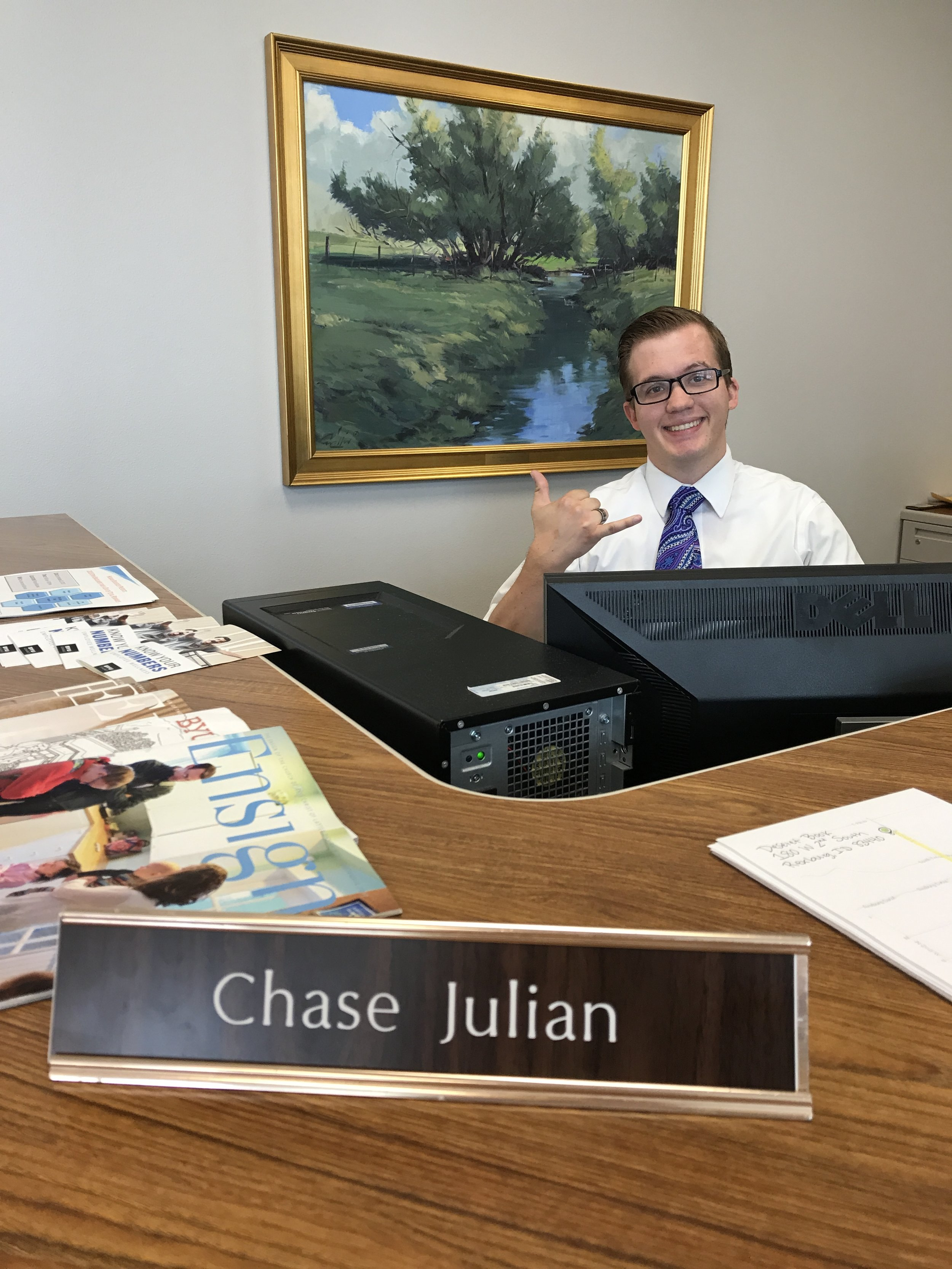 Photo taken at LDS Philanthropies in Rexburg, Idaho, where Chase works everyday from 11:00am to 2:00pm.