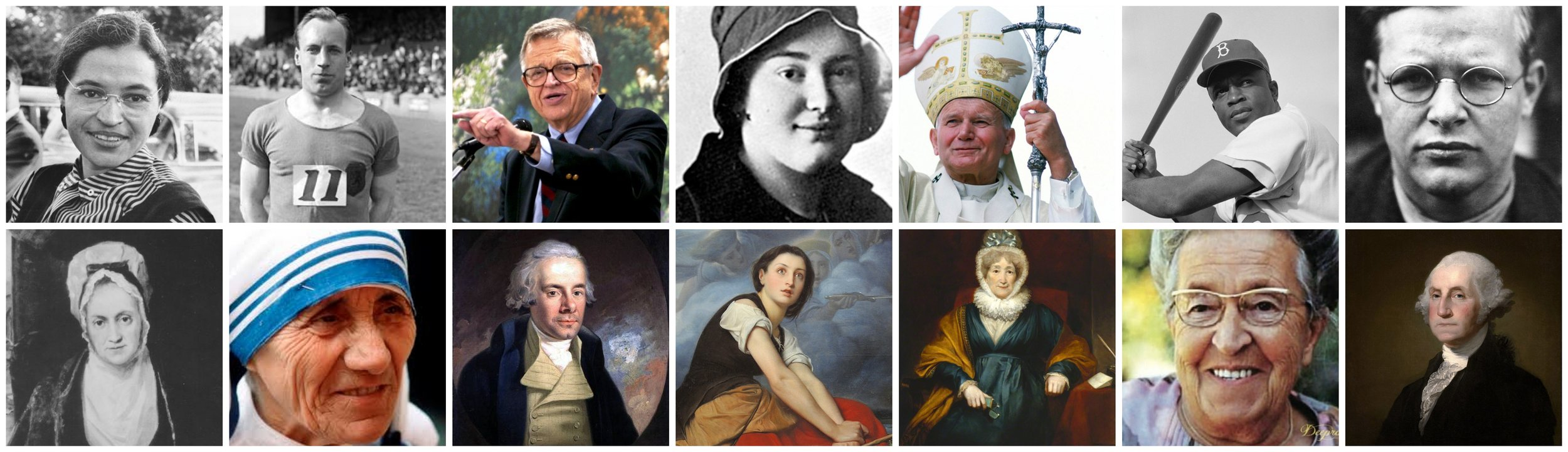 We're excited to learn more about these 14 incredible people: Rosa Parks, Eric Liddell, Charles Colson, Saint Maria of Paris, Pope John Paul II, Jackie Robinson, Dietrich Bonhoeffer, Suzanna Wesley, Mother Teresa, William Wilberforce, Joan of Arc, Hannah More, Corrie ten Boom, George Washington