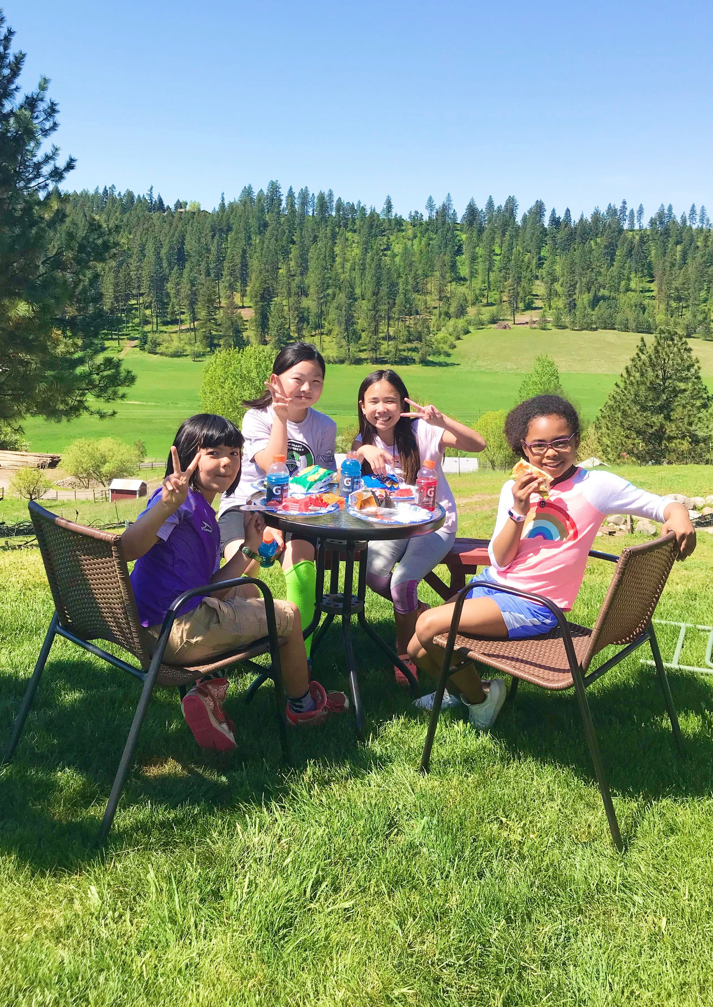 During the school year, Addie and Geoff attend a Korean language and culture school most Saturdays. This was their end of year picnic at her teacher's amazing house/farm.