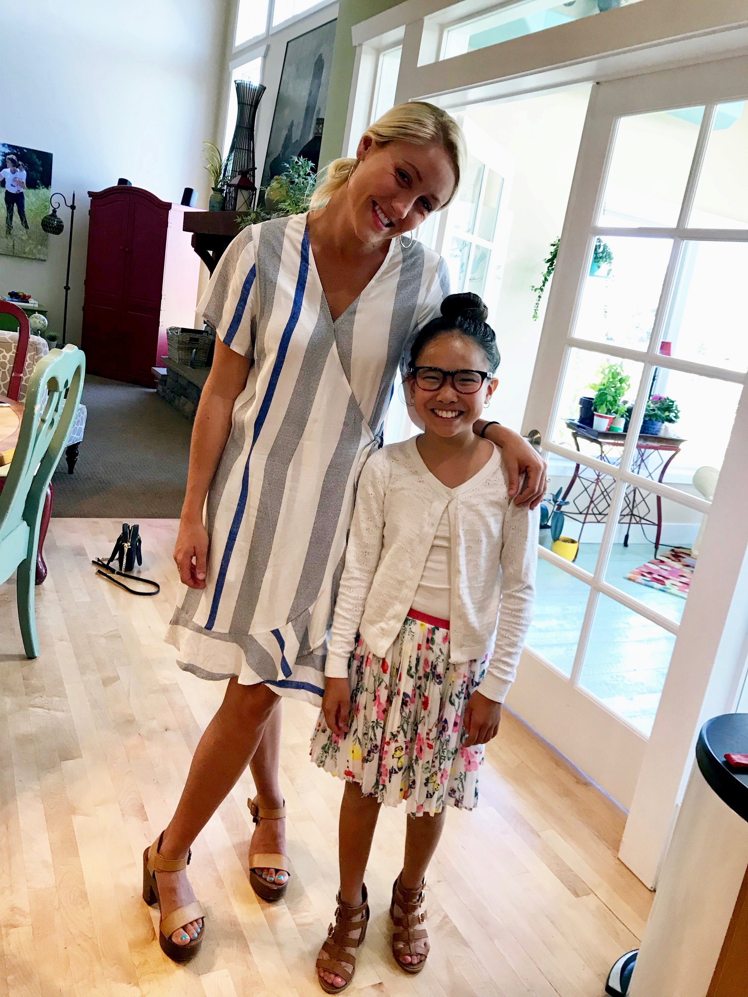 """I'm LOVING the relationship that is developing between these two sisters. Here Addie is sporting what we refer to as a """"Lauren bun"""" which when worn with her first pair of high-heels freaked me out a little. She is growing and even though she is little, she is developing into a beautiful young woman."""