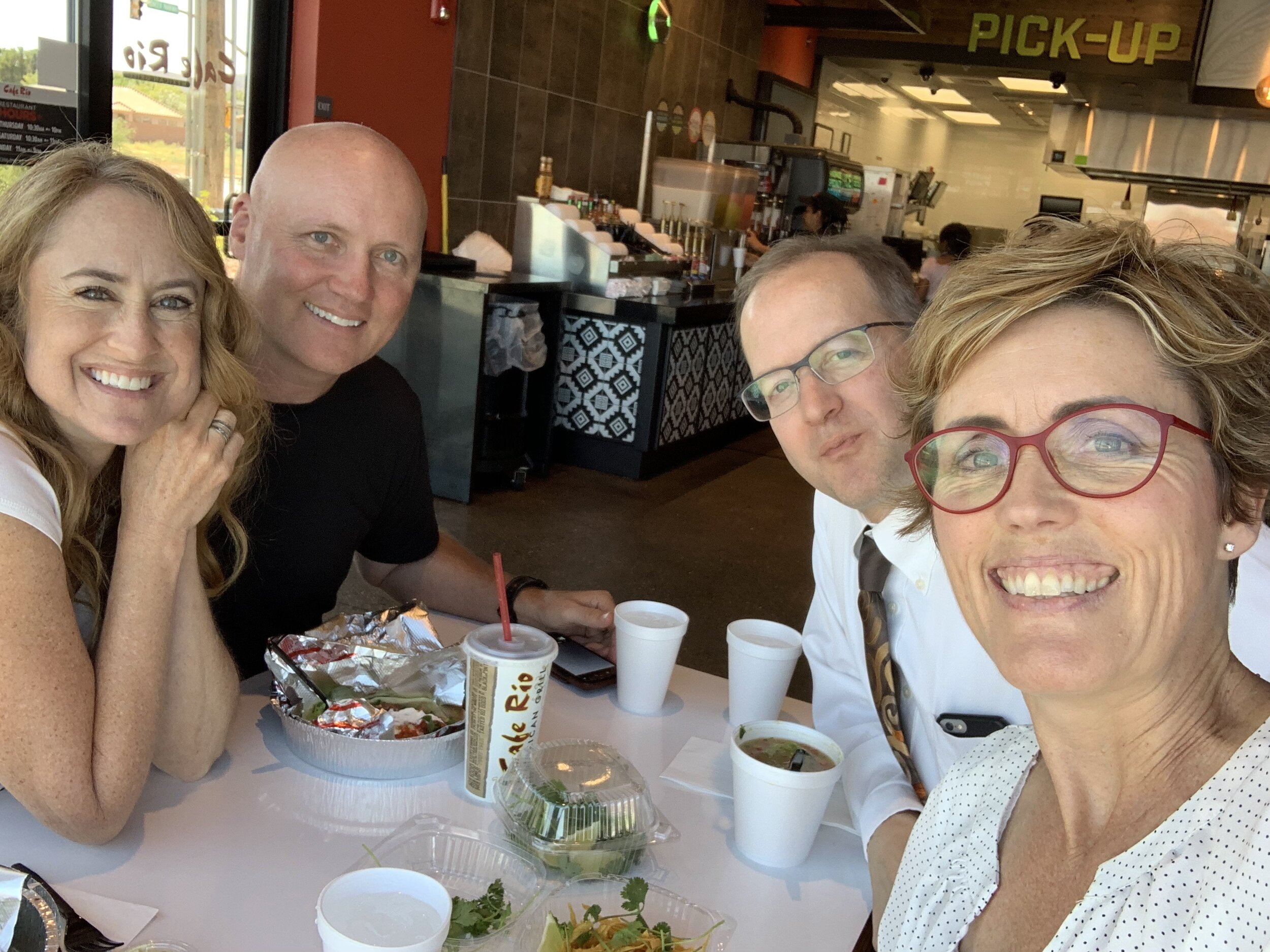 I can't believe I forgot to take a photo of us during our recording session—go figure?! This photo was taken just after—at Cafe Rio. Good times!