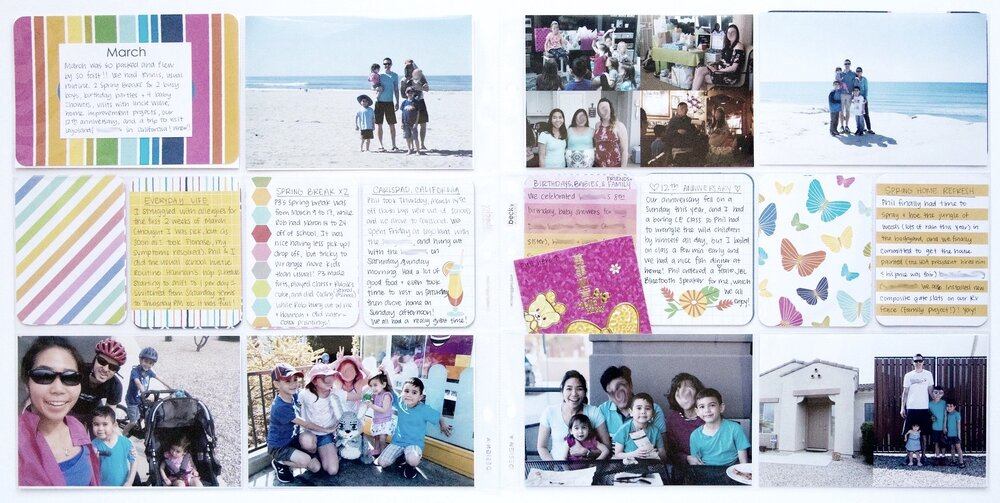 Janelle spoke of her rainbows in March. Here's her monthly Project Life spread. Liz is committing to adding more story to scrapbook pages she has already created.