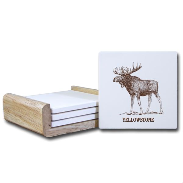 Moose Coaster With Brown Text C536 Paint The Town Inc