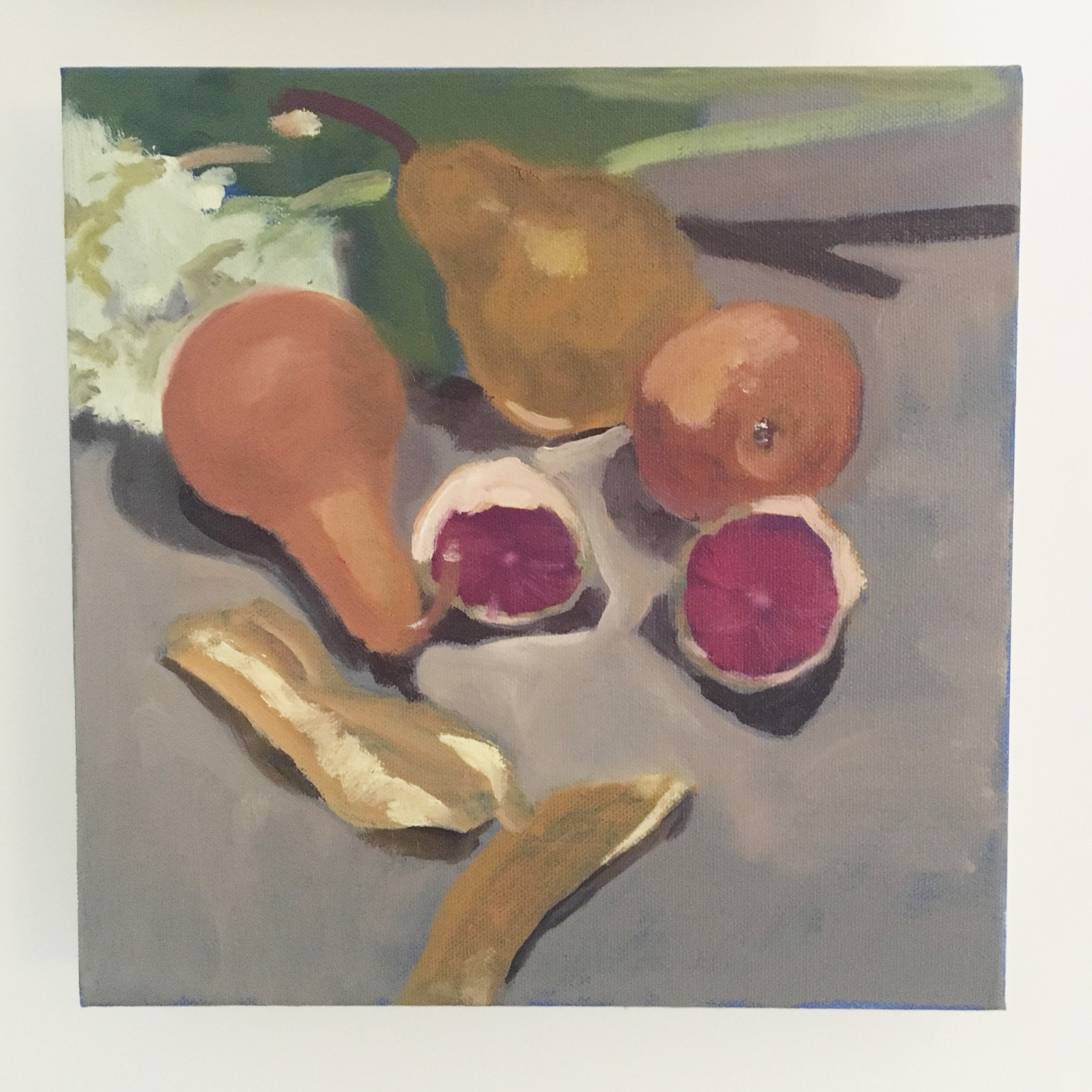 """Peach, Plum, Pear."" Oil on canvas. Haniya Rae, 2018"