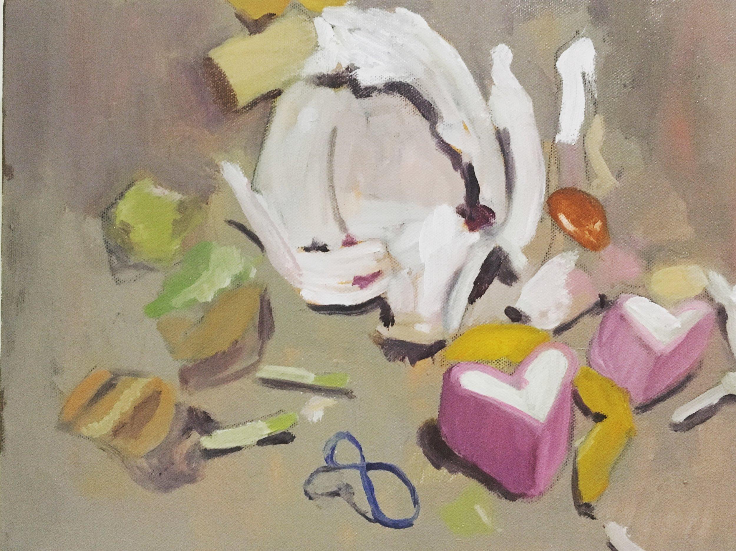 """Love Is Pretty Dumb."" Oil on canvas. Haniya Rae, 2018"
