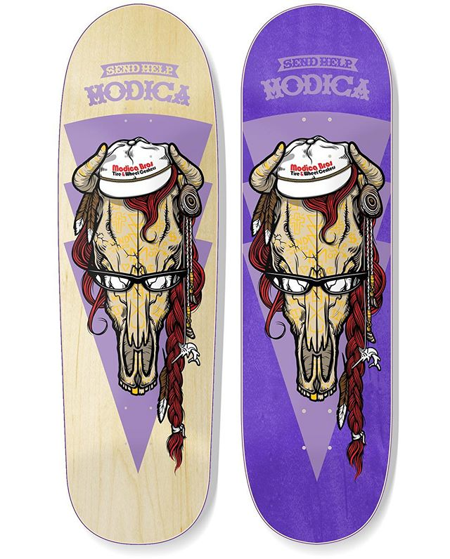 "Justin @jMod Modica ""ALTER"" graphic by @toddbratrud available in two sizes... first, a 9.5 wide Vert style shape with a double drilled nose over natural veneer. then, a 8.625 wide Popsicle style shape over purple veneer. both available soon from @alley_distribution #SENDxHELP #MODICA #PRO"