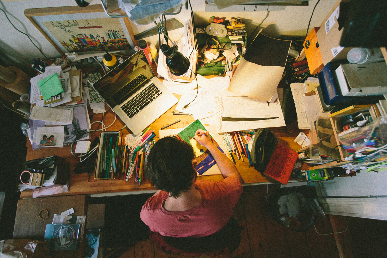 The desk of an artist. Jan Oksbøl Callesen at work.