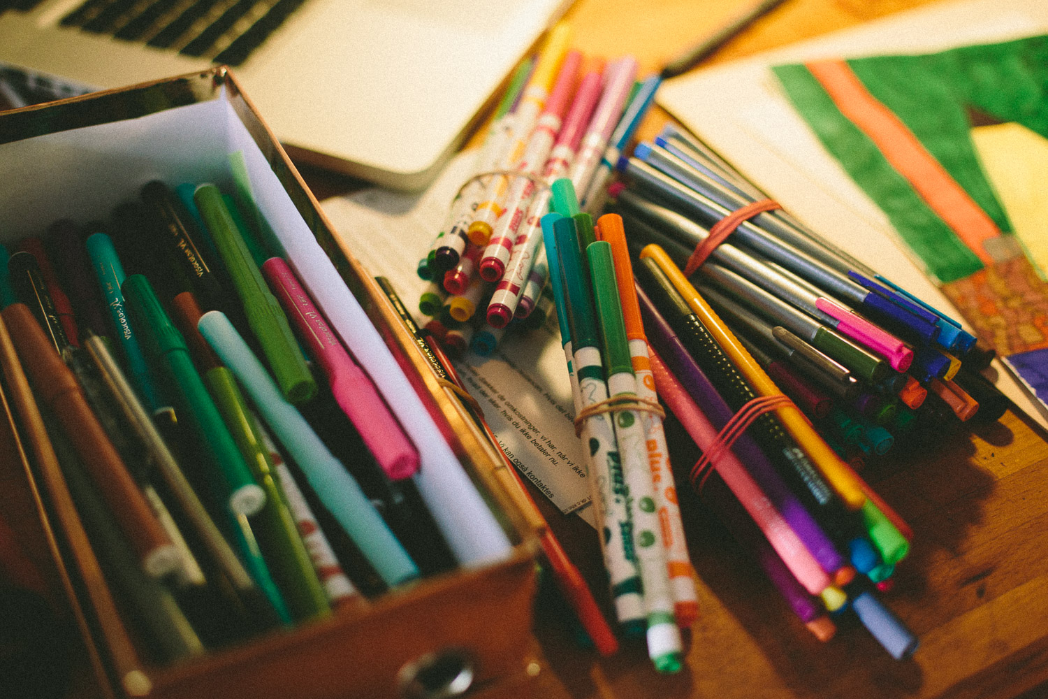 Children markers are for grown-up too! The tools of artist Jan Oksbøl Callesen.